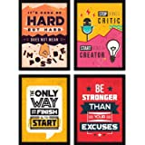 FATMUG Motivational Frames for Office and Living Room - Modern Wall Art with Glass - Set of 4
