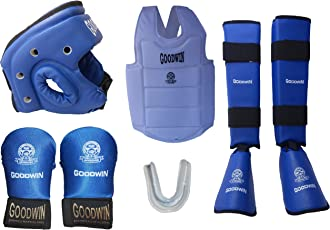 Kai Approved Goodwin Karate Safety Kit - Pack of - Head Guard, Chest Guard, Shin Guard, Hand Gloves and Mouth Guard -Size - Small - Color - Blue