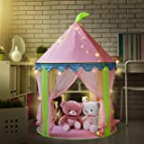 Tenda del castello della principessa della ragazza con 5 luci a batteria al coperto decorazione luci fata 50pcs LED fiocchi di neve lightiing - Sonyabecca Rosa teatro Apparire Tenda di lettura