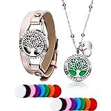Collier de Diamant de Diffuseur d'Huile Essentielle de Vie d'Arbre avec Aromathérapie en Acier Inoxydable Bracelets en Cuir a