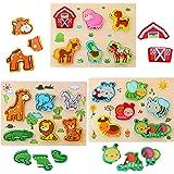 3D Animal Puzzles de Madera para Bebé,Pack de 3 Animales de 18 Tipos Rompecabezas Habilidad motora Fina Aprendizaje temprano