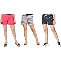 Club A9 Women Cotton Printed Shorts | Lounge Shorts (Pack of 3)