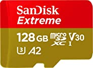 SanDisk Extreme microSDXC, U3, C10, V30, UHS 1, 160MB/s R, 90MB/s W, A2 Card for 4K Video Rec on Smartphones, Action Cams & Drones, SDSQXA1 128GB