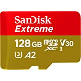SanDisk Extreme 128GB microSDXC Class 10 Speicherkarte mit SD-Adapter, Gold/Rot