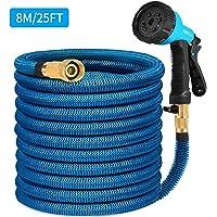 HB life Tuyau d'arrosage Tuyau Flexible Tuyau d'eau 8M/25FT Tuyau Extensible à Multifonction Elastique Flexible pour Irrigation et Nettoyage du Jardin (8M, Bleu)
