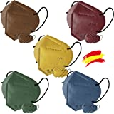 Mascarilla FFP2 Colores, 20 unidades, Fabricación 100% Española, Alta eficiencia 5 capas, talla única, Homologada CE 0161, EN