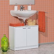 Galdem Waschbeckenunterschrank Mit 2 Türen Bad Möbel Badschrank Gäste WC  Gästebad Waschtisch Unterschrank Holz Weiß