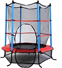 IRIS Fitness Round Kids Mini Trampoline with Enclosure Net Pad Rebounder for Outdoor Exercise, 55-inch(Multicolour)
