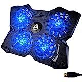 KLIM Wind - Laptop Chiller + De krachtigste + Laptop Chiller met 4 ventilators 1200 RPM met ondersteuning + compatibel met al