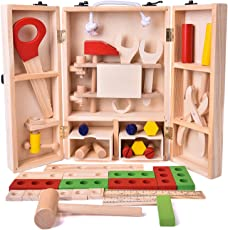 Toyshine Pretend Play Wooden Tool Set Toy with Carry Case Packaging (Multicolour)
