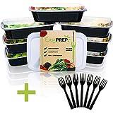 EasyPREP Meal Prep Containers Lot de 7 boîtes de Conservation avec couvercles et 7 fourchettes, 1 Compartiment et Pas de Grad