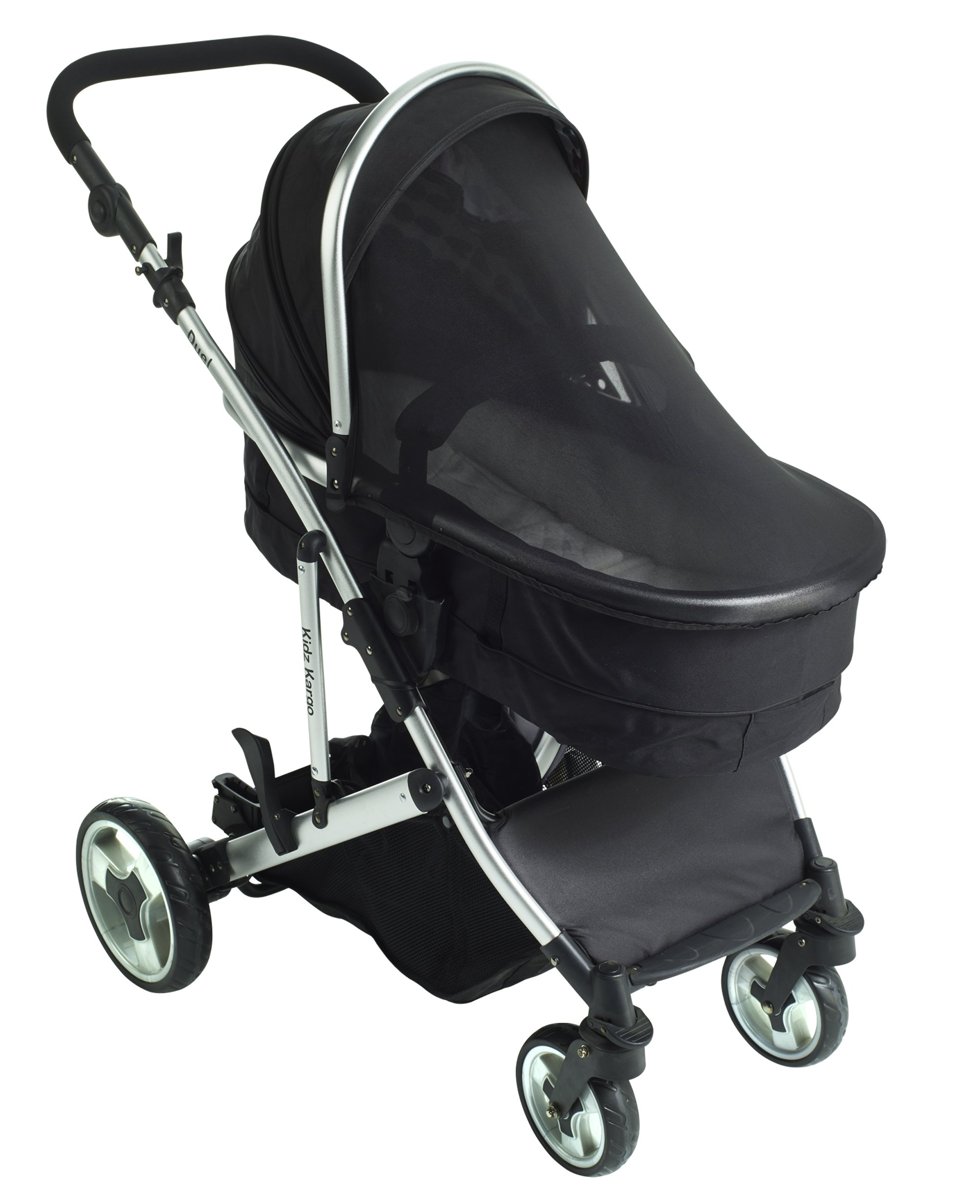 Duel combo Double pushchair with carrycot pram includes 2 FREE footmuffs Newborn & toddler, tandem travel system buggy convertible carrycot to seat unit and toddler/child seat unit, Midnight Black by Kids Kargo Kids Kargo The carrycot when converted to seat unit, can be rear or forward facing. Versatile. Suitable for Newborn and toddler: Carrycot with mattress and soft lining, which zip off. Remove lining and lid, when baby grows out of carrycot mode. Converts to a full sized seat unit, with 5 point harness. Bucket seat unit for toddler or baby over 6 months sits in forward facing bottom position , or forward and rear facing at the top, if car seat used at the bottom. 6