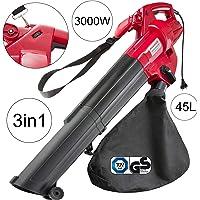 Arebos Souffleur Aspirateur de feuilles électrique/Fonction 3 en 1 Souffleur Aspirateur et Broyeur / 3000 W/Grand sac de collecte de 45 litres/GS testé
