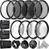 58MM Complete Lens Filter Accessory Kit (UV, CPL, ND4, ND2, ND4, ND8 and Macro Lens Set) for Canon EOS 70D 77D 80D 90D Rebel
