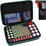 Battery Organiser Storage Box with Battery Tester (BT168), Case Bag Holder fits for 200+ Batteries AA AAA AAAA 9V C D…