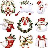 9 Pezzi Spilla di Natale Pin di Neve Set con Decorazioni Natalizie in Cristallo di Strass (Set di guanti)