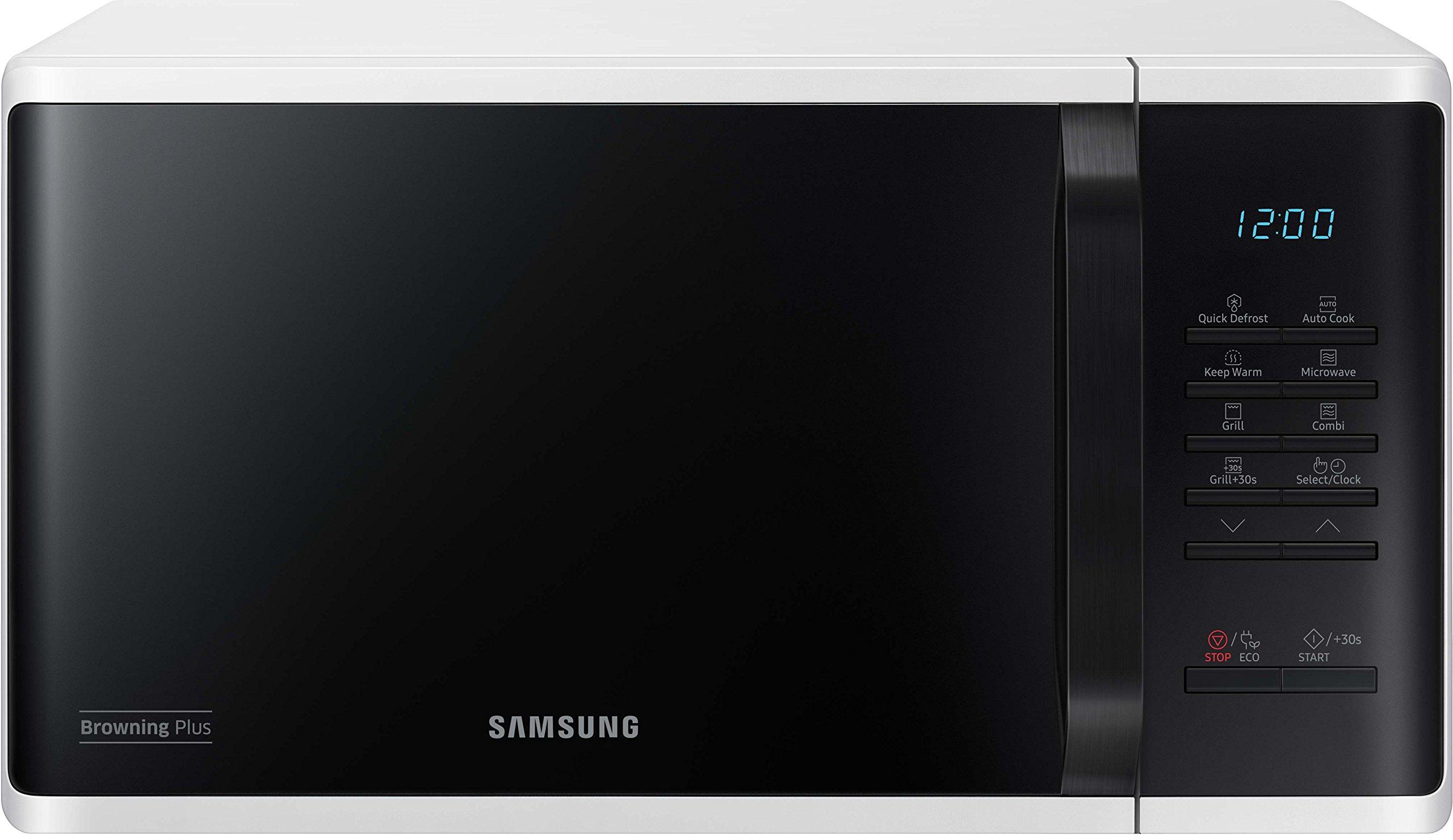 Samsung MG23K3513AW Kombi-Mikrowelle mit Grill, 800 Watt, 23 Liter, 27 Automatikprogramme, weiß