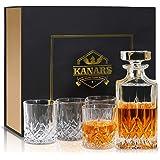 KANARS Bottiglie e Bicchieri whisky, Decanter da Whiskey Cristallo, 5 Pezzi, 750ml Bottiglia con 4x 300ml Bicchieri, Bellissi