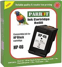 Parrot HP 46 Black Ink Cartridge Refill for Deskjet 2020HC 2029 2520HC 2529 4729