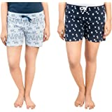 A9- Women Regular Shorts (Pack of 2) (WSCOM_316_M_Multicolored_Medium)