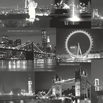 muriva 102501 novelties london wallpaper rolls black and white