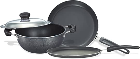 Prestige Omega Select Plus Non-Stick BYK Set, 3-Pieces,Black/Silver