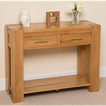 kuba chunky solid oak wood 2 drawer console table unit hallway living room 110 x 40 x 80 cm