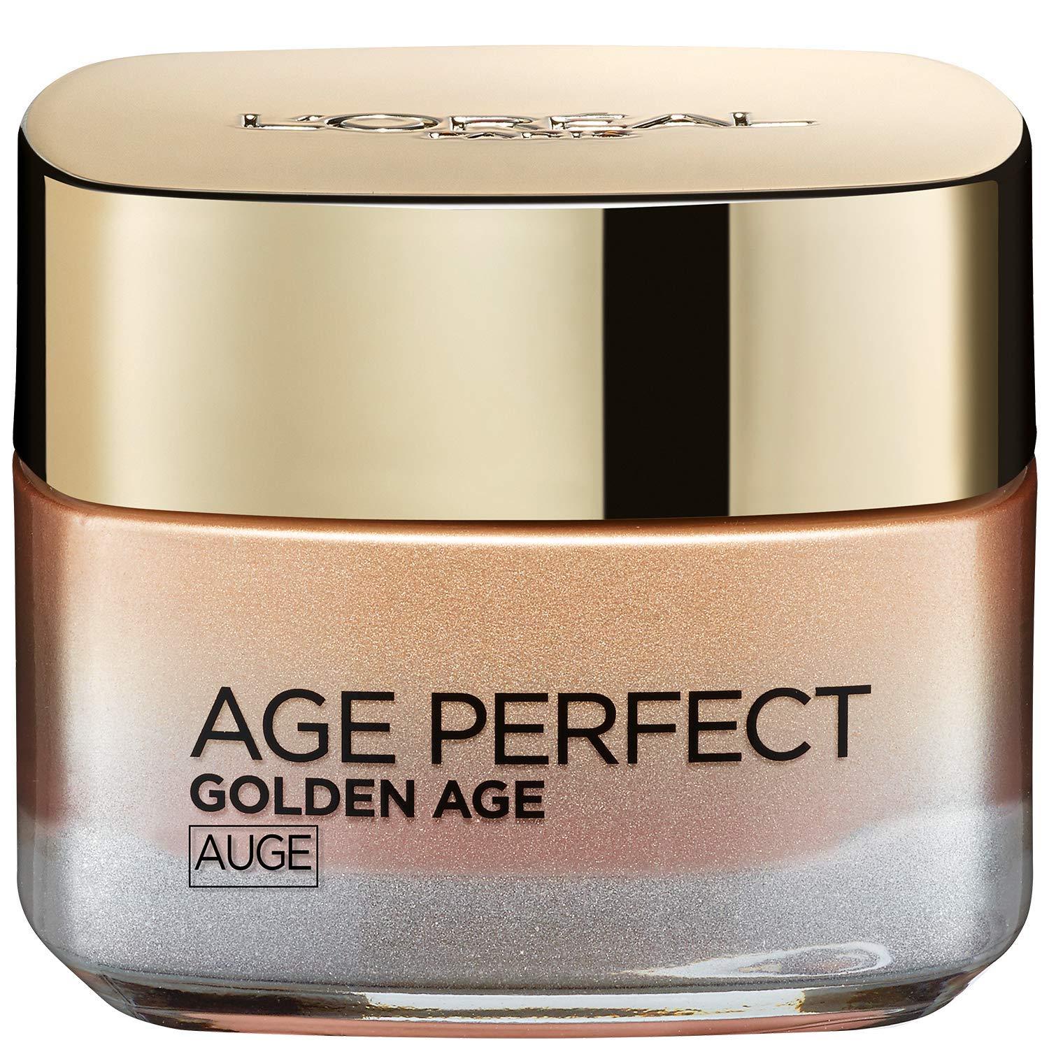L'Oréal Paris Perfect Golden Age Rosé – Cuidado ocular con calcio B5 y extracto de peonía, contra ojeras oscuras, 15 ml