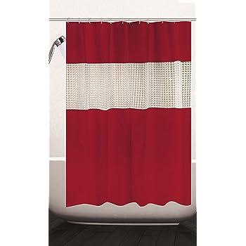 Red Waterproof Polyester Fabric Bathroom Shower Curtain Sheer Panel Decor 12 Hooks