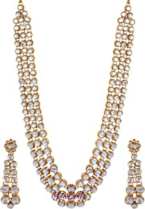 YouBella Gold Alloy Kundan Necklace Set with Earrings for Women