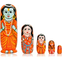 Fine Craft India Wooden God Russian Nesting Matryoshka Stacking Nested Wood Dolls (6-inches)- Set of 5