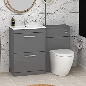 1100mm Modern Indigo Grey Gloss Bathroom 2 Drawers Minimalist Vanity Unit Basin Sink Abacus Rimless Pan Toilet Furniture Set Amazon Co Uk Kitchen Home