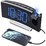 Mpow Reloj Despertador Digital, Radio Despertador Proyector con Puerto USB, Alarma Dual con 5 Sonidos e 3 Volúmenes, 0-100% R