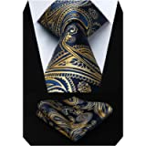 HISDERN Paisley Tie for Men With Handkerchief Woven Classic Floral Men's Necktie & Pocket Square Set Wedding Business