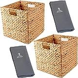 سلال تخزين من صفير المياه مقاس 30 × 30 × 30 سم، سلال مربعة لتخزين أرفف مع بطانة من القماش، سلال تخزين لتنظيم المكعبات، صناديق
