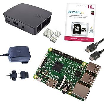 Raspberry Pi 3 Official Starter Kit Black con Alimentatore Ufficiale, Case Ufficiale, Cavo HDMI, Dissipatori e MicroSD Ufficiale 16GB con NOOBS