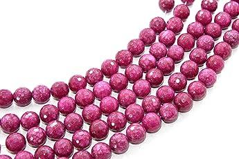 The Design Cart 14 mm Rose Red Jade Quartz Semi Precious Stones Pack of 1 String- for Jewellery Making, Beading & Craft.