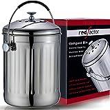 RED FACTOR Premium Seau Compost Inodore en Acier Inoxydable pour Cuisine - Poubelle Compost Cuisine - Comprend Filtres à Char