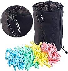 PEARL Wäscheklammern Plastik: Robuster Wäscheklammer-Beutel mit Karabiner-Haken, 100 Klammern (Wäscheklammerbeutel)