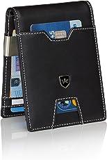 Premium Geldbörse mit Geldklammer und Münzfach Portemonnaie Herren schlank Geldbeutel 9 Kartenfächer RFID Slim-Wallet Geldtasche