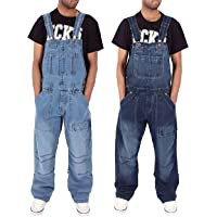 SCYDAO Men's Rugged Denim Overalls Casual Big and Tall Rompers Work Jumpsuit with Multiple Pockets