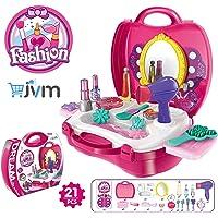 JVM Beauty Make Up Case Suitcase,Durable Kit Hair Salon with 21 Pcs Makeup Accessories for Children Girls