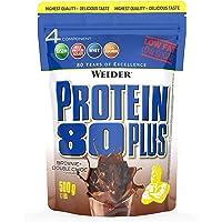 WEIDER Protein 80 Plus Eiweißpulver, Brownie-Double Choc, Low-Carb, Mehrkomponenten Casein Whey Mix für Proteinshakes…