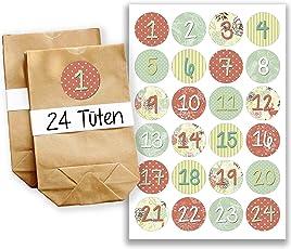 Papierdrachen DIY Adventskalender Set - 24 braune Geschenktüten und 24 bunte Zahlenaufkleber - zum selber machen und befüllen - Mini Set 24