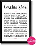 Geschwister Geschenke Bild mit Rahmen Geschenkidee zum Geburtstag Hochzeit Ostern für beste Schwester bester Bruder...