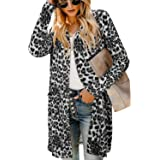 OUGES Women's Button Leopard Print Open Front Cardigan with Pockets Long Sleeve Casual Lightweight Ladies Coat