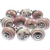 Mango Tree MG-730 Set di pomelli in ceramica con fantasia mista, color rosa antico e bianco, a strisce e pois, prodotto regis