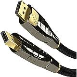 KabelDirekt - DisplayPort Kabel - 5m - (4K 60Hz, Version 1.2, Stecker mit Verriegelung, Nylon Ummantelung) - PRO Series