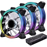 EZDIY-FAB 3-Pack 120mm Dual Frame RGB PWM Fans for PC Case,Ventilador de Caja RGB direccionable con hubs de Ventilador, Venti