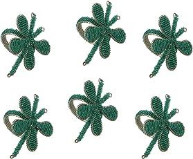 Handmade Butterfly Beaded Napkin Rings Set Of 6,Offwhite